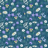 Beautiful wild flowers seamless pattern Stock Images