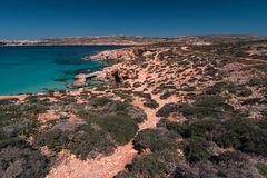 Comino landscape. Beautiful wild landscape of Malta, Comino island Royalty Free Stock Photo