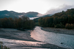 Beautiful wild mountain river in Krasnodar Krai Royalty Free Stock Photography