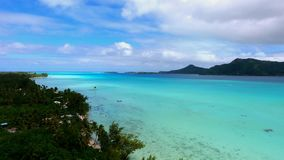 Beautiful wild nature 4k aerial panorama seascape view on Tahiti island French Polynesia Pacific ocean water paradise