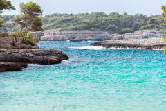 Beautiful wild tropical coast. Royalty Free Stock Images
