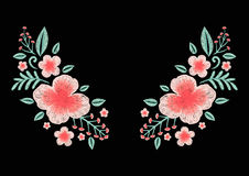 Beautiful wildflowers embroidery design for neckline. Stock Vector. Royalty Free Stock Image