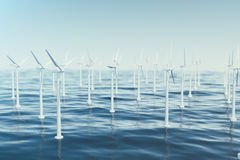 Beautiful the wind turbines in sea, ocean. Clean energy, wind energy, ecological concept. 3d rendering Royalty Free Stock Photography