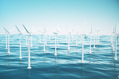 Beautiful the wind turbines in sea, ocean. Clean energy, wind energy, ecological concept. 3d rendering Stock Images