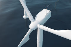 Beautiful the wind turbines in sea, ocean. Clean energy, wind energy, ecological concept. 3d rendering Stock Photo
