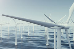 Beautiful the wind turbines in sea, ocean. Clean energy, wind energy, ecological concept. 3d rendering Stock Photography
