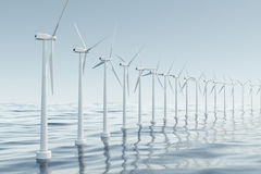 Beautiful the wind turbines in sea, ocean. Clean energy, wind energy, ecological concept. 3d rendering Stock Photos