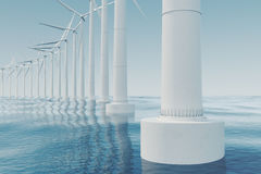 Beautiful the wind turbines in sea, ocean. Clean energy, wind energy, ecological concept. 3d rendering Royalty Free Stock Photo