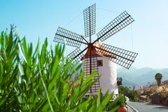 Beautiful windmill landscape Stock Photo