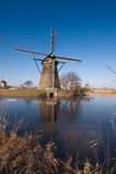 Beautiful windmill landscape at kinderdijk Stock Photos