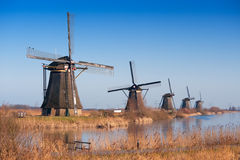 Beautiful windmill landscape at kinderdijk Royalty Free Stock Photo