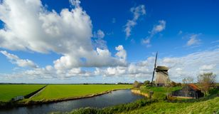 Beautiful windmill landscape in the Netherlands. Schermerhorn, Schermer, Noord-Holland Stock Photo
