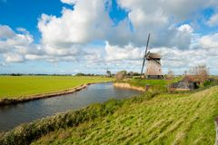 Beautiful windmill landscape in the Netherlands. Schermerhorn, Schermer, Noord-Holland Royalty Free Stock Photos