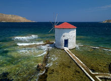 Free Beautiful Windmill With Path In The Sea At Leros Island. Royalty Free Stock Photos - 8017888