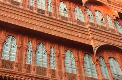A beautiful windon in Bikaner. A beautiful carved wooden window decorates a haveli in the cit of Bikaner, India stock photography