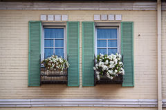 Beautiful window with flower box and shutters Stock Images