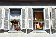 Beautiful window with flower box and shutters Royalty Free Stock Photography
