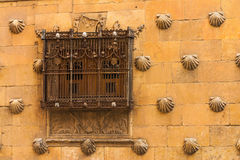 Beautiful window with forge of The House of Shells in Salamanca Royalty Free Stock Image