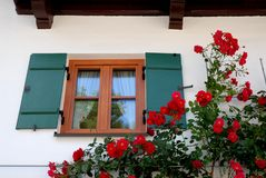 Beautiful window framed by red roses to Oberammergau in Bavaria (Germany) Stock Photos