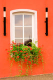 Beautiful window on red wall Royalty Free Stock Photo