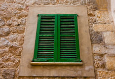 Beautiful window in Valldemossa, famous old mediterranean village of Majorca Spain. Royalty Free Stock Images