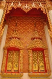 Beautiful window and wall in thai style. The wall pattern in temple and palace of thailand Stock Photo