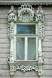 Beautiful window in wooden russian house Stock Images