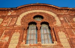 Beautiful windows of old synagogue in Uzhgorod,Zakarpattia,Ukraine Royalty Free Stock Image