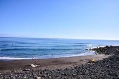 Beautiful windy beach Playa El Socorro. Los Realejos, Puerto de la Cruz, Tenerife, Spain Royalty Free Stock Photography
