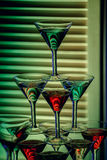 Beautiful wine champagne glasses in front of colorful background Royalty Free Stock Photography