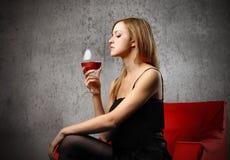Beautiful wine taster stock photography