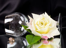 Beautiful wineglass with white rose Stock Photography