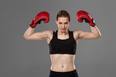 Beautiful winner. Blond hair woman in red boxing. Beautiful winner. Beautiful blond hair woman in red boxing gloves standing on gray background Royalty Free Stock Image