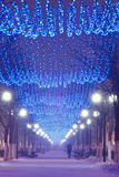 Beautiful winter alley with illumination and a lonely person on royalty free stock photography