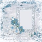 Winter background with photo frame and charming flowers royalty free stock photos