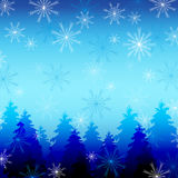 Beautiful winter background with snowflakes and fi Stock Photography