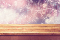 Free Beautiful Winter Bokeh Background And Wooden Table. Ready For Product Montage Stock Image - 46572091