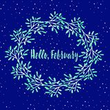 Beautiful winter card with a wreath - a layout for a calendar Royalty Free Stock Photos