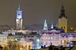 Beautiful winter cityscape in the center of Lvov c Stock Photos