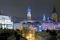 Beautiful winter cityscape in the center of Lvov city Royalty Free Stock Images