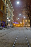 Beautiful winter cityscape in the center of old Lvov city at the Royalty Free Stock Photos