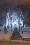 Beautiful winter cityscape at the night - Catholic Church Discal Stock Photography