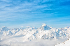 Beautiful winter day landscape with snow covered peaks of Caucas Stock Photography