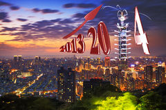 Beautiful winter day over the taipei. 101 with blue sky in the evening Royalty Free Stock Image