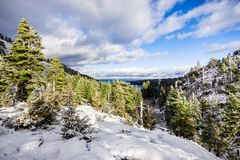 Beautiful winter day in the Sierra Mountains, Emerald Bay and Lake Tahoe visible in the background, California stock photo