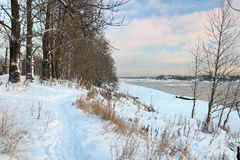 Beautiful winter day. Snow on the bank of the river. Trees under the snow. The low winter sun stock photography