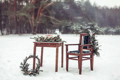Beautiful winter decor for the wedding photo shoot on the street in rustic style Stock Photos