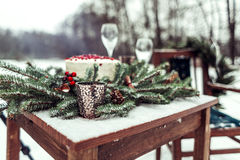Beautiful winter decor for the wedding photo shoot on the street in rustic style Royalty Free Stock Photography