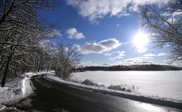 Beautiful Winter Drive In Michigan State Park Royalty Free Stock Photo