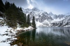 Beautiful winter at Eye of the Sea lake in in Tatra mountains. Poland Royalty Free Stock Photography